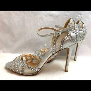 Badgley Mischka Silver Leather & Crystal Heels